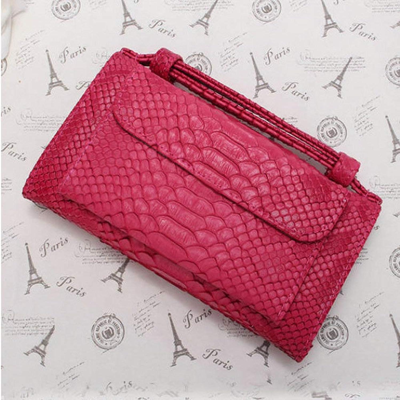 ACHKL Women Snake Skin Genuine Leather Chain Shoulder Bag Crossbody Bag Handbag Long Wallet ACHKL (color   color pink Red, Size   OneSize)
