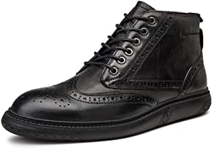 Xujw-shoes store, 2019 Mens New Lace-up Flats Brogue Ankle Boots for Men High Top Oxford Lace up Comfortable Breathable Leather Anti-Skid Platform Round Toe Burnished Style(Taller Optional Black