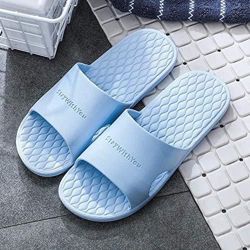 quming Ducha Playa y Piscina Slide Zapatilla,Sandalias Ligeras Antideslizantes de baño, Sandalias Transpirables de Suela Blanda para Interiores-Azul Claro_38-39