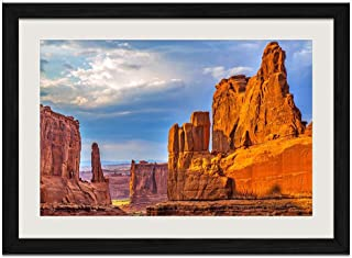Desert Rock - Art Print Wall Black Wood Grain Framed Picture(24x16inches)