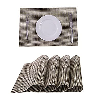 Set of 4 Placemats,Placemats for Dining Table,Heat-resistant Placemats, Stain Resistant Washable PVC Table Mats,Kitchen Table mats(Beige)
