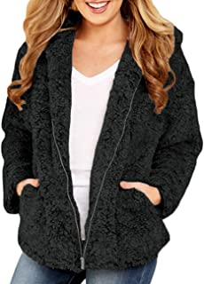 Womens Fleece Fuzzy Open Front Coats with Pockets Outerwears(S-XXL)