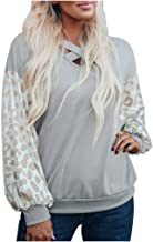Womens Tops Fashion Sequins Patchwork Casual O-Neck Long Sleeve Loose Pullover