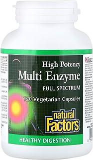 Natural Factors Multi Enzyme High Potency Full Spectrum 120 Veg Capsules, 120 gm