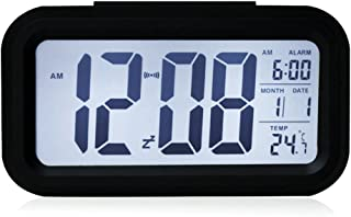 Hangang Smart Clock, Large Digital Display Intelligent Alarm Function with Temperature Electronic Alarm Clock Calendar (Bl...