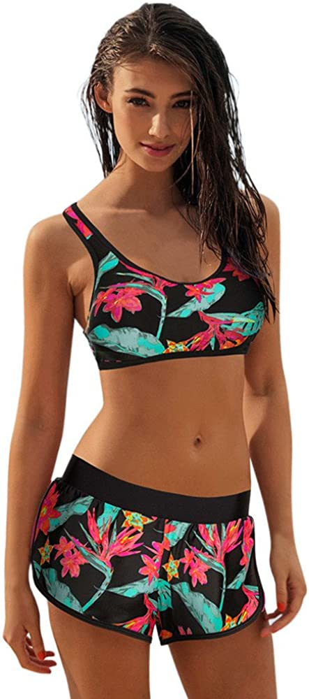 Kcocoo 2 Piece Bikini Swimsuit for Women High Waist Tummy Control Swimwear Floral Print Bathing Suits Boyshort Swimsuits