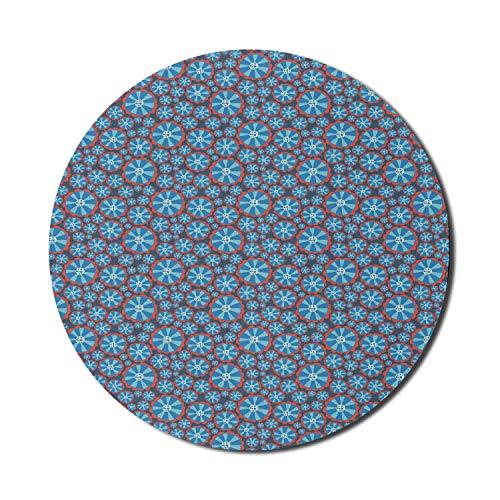 Retro Mauspad für Computer, abstrakte florale runde Whirlpool wie Motiv, runde rutschfeste dicke Gummi Modern Gaming Mousepad, 8 'runde, himmelblaue dunkle Koralle