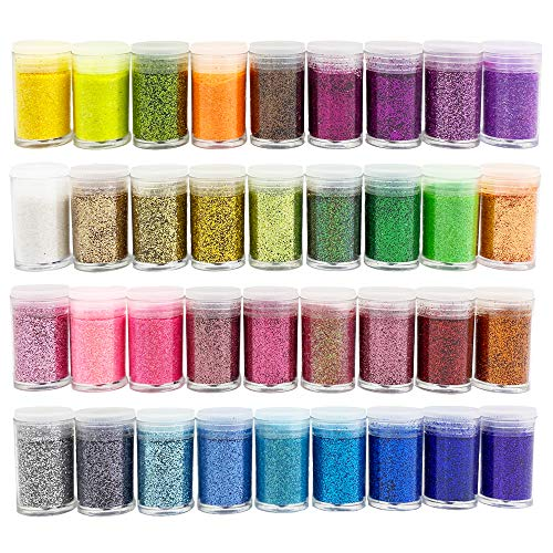 36 Colors Fine Slime Glitter Deluxe Glitter Shake Jars Set Kit,Arts and Craft Supplies Glitter for Body Face Hair Makeup Eyeshadow Lip Gloss Making