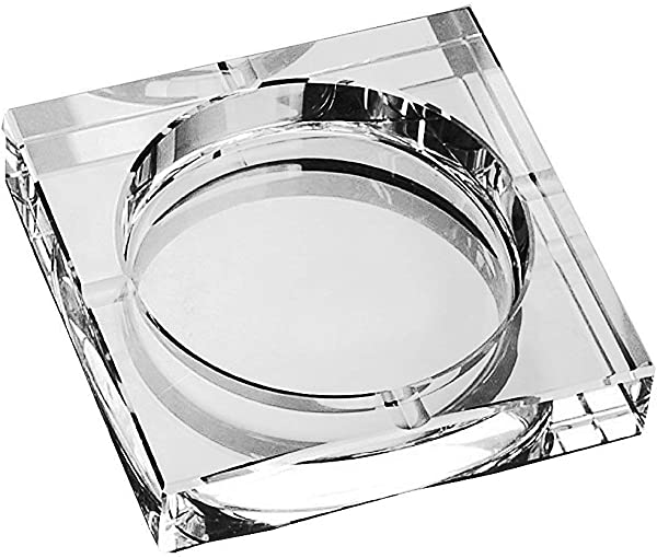 Amlong 水晶大号方形水晶烟灰缸带礼盒 6X6 英寸 150毫米 X 150毫米透明