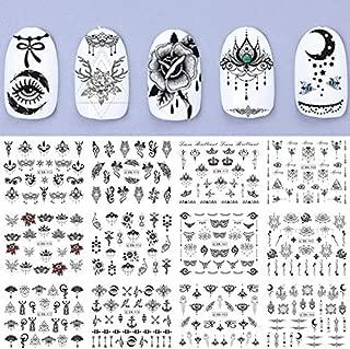 Tempea 12 Sets Indian Bindi Mandala Mehndi Nail Wraps Rastafarian jah Polynesian Hawaiian Nail Decals pin up Girl Nail Art Stickers Adult Cartoon Marvel Comic Nail Wraps