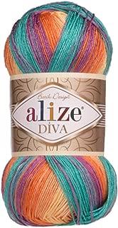 100% Microfiber Yarn Alize Diva Batik Silk Effect Thread Crochet Hand Knitting Turkish Yarn Art Lot of 4skn 400g 1532yd Color Gradient (7074)