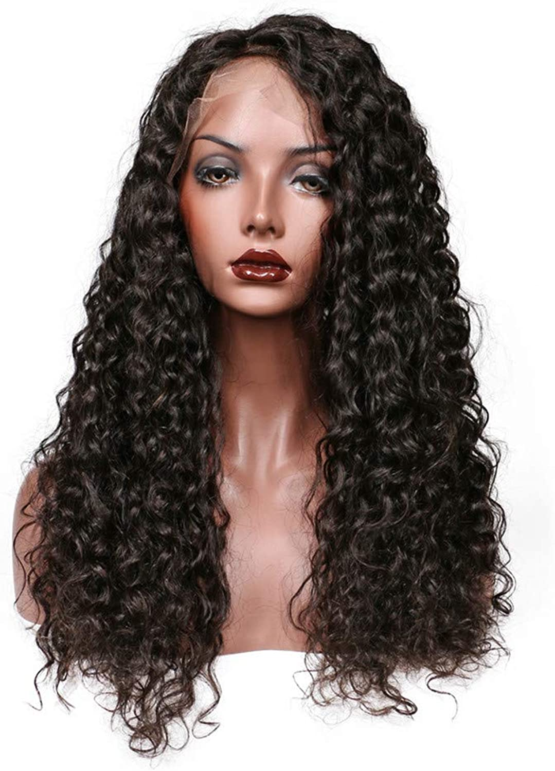 Real Hair Front Lace Wig, Deep Curly (12 inches)
