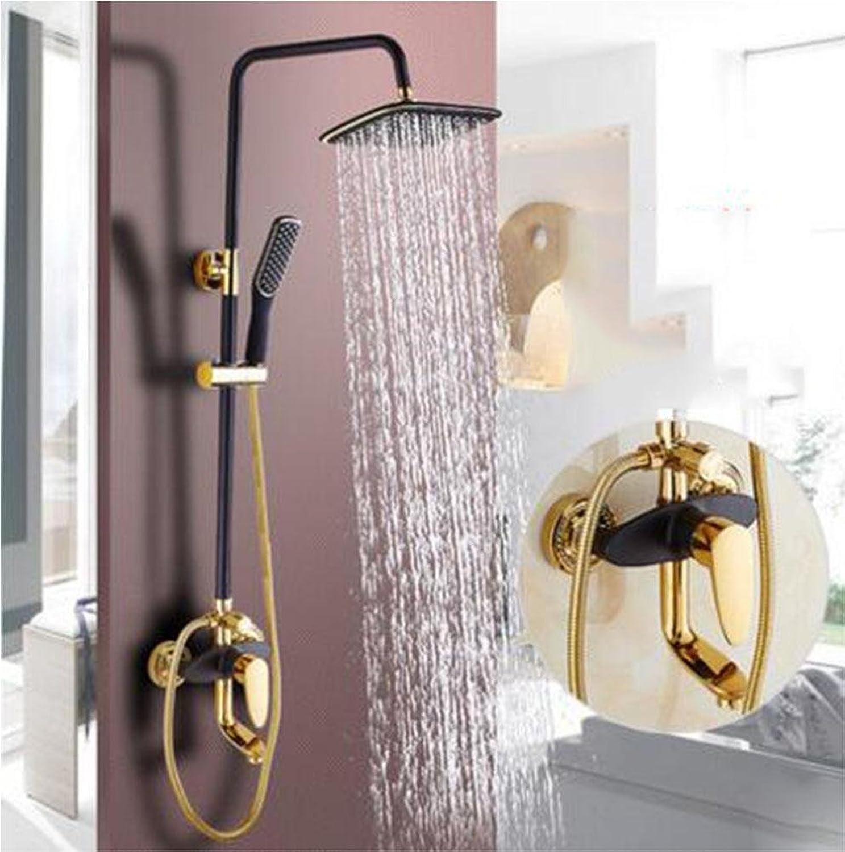 HUASATZ Alle Kupfer Schwarz Antiquitt Wandtyp Duschset Badewanne Wasserhahn