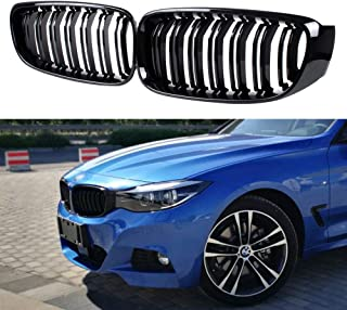 JMY Front Kidney Grille Grill Glossy Black Dual Double Line for BMW 3 Series GT/F34 2012-2018 (ABS)