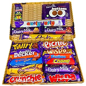 cadbury chocolate gift selection, 17 bars of the creamiest and milkiest tasting chocolate in a wicker style gift box. Cadbury Chocolate Gift Selection, 17 Bars of The Creamiest and Milkiest Tasting Chocolate in a Wicker Style Gift Box. 61lyXKj UYL