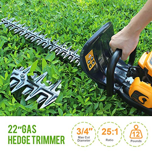 SALEM MASTER Cordless Hedge Trimmer 22.5cc 2 Cycle Gas Powered Bush Trimmer 22-Inch Max. Cutting Dual Sided Hedge Clippers TT-HT340