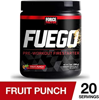Force Factor Fuego Pre-Workout Firestarter for Energy, Strength, and Pumps with TeaCrine, PeakO2, and L-Citrulline for Nitric Oxide, 20 Servings