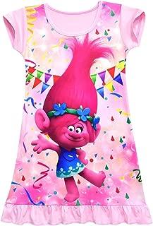 ZHBNN Trolls Toddler Little Girls Nightgown Cartoon Pajamas Princess Dress