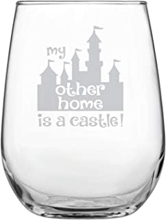 Laser Etchpressions My Other Home is a Castle 17oz Stemless Wine Glass - Disney-Inspired Glass - Mickey Mouse Fan - Minnie Mouse Fan - Birthday Present - Gift for Friend