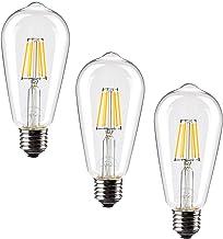 Leadleds Vintage LED Filament Bulb 60 Watt Equivalent, 6W LED Edison Bulb Clear Glass, E27 Medium Base, 2700k Warm White N...