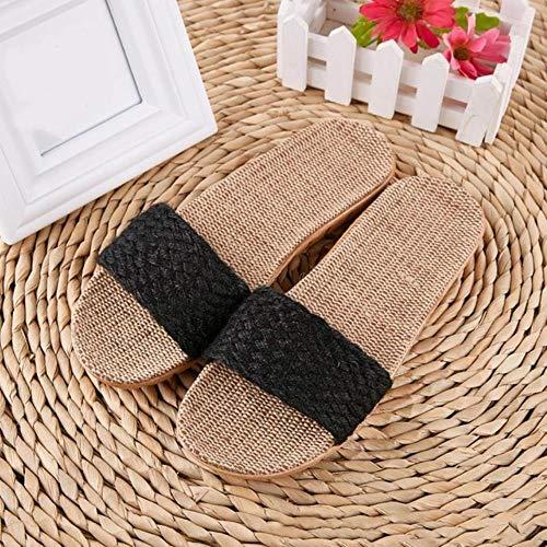 KADIS Zapatillas de Playa de Verano para Mujer Chanclas de Lino cómodas Diapositivas de cáñamo Antideslizantes para Mujer Zapatos Casuales caseros Cruzados para Mujer Sandalias, H, 11.5