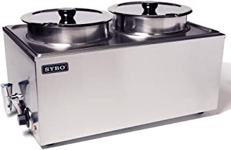 SYBO ZCK165BT-4 Commercial Grade Stainless Steel Bain Marie Buffet Food Warmer Steam Table for Catering and Restaurants, ((2 Round Pots with Tap), Sliver