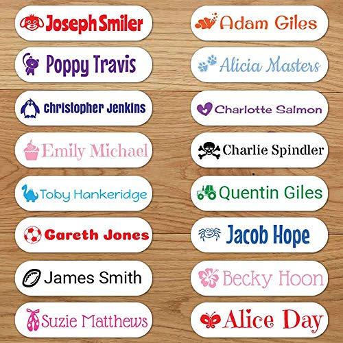 Personalisierte Bügeletiketten für Kleidung (96 Etiketten)