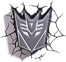 MX Bracket Light Wall lamp - Decepticon Shield 3D Deco Light (Transformers) @ (Color : A)