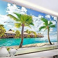 カスタム壁画壁紙3D三次元海の景色ココナッツの木の風景画壁画のリビングルームの背景壁の壁紙3D壁紙-250x175cm