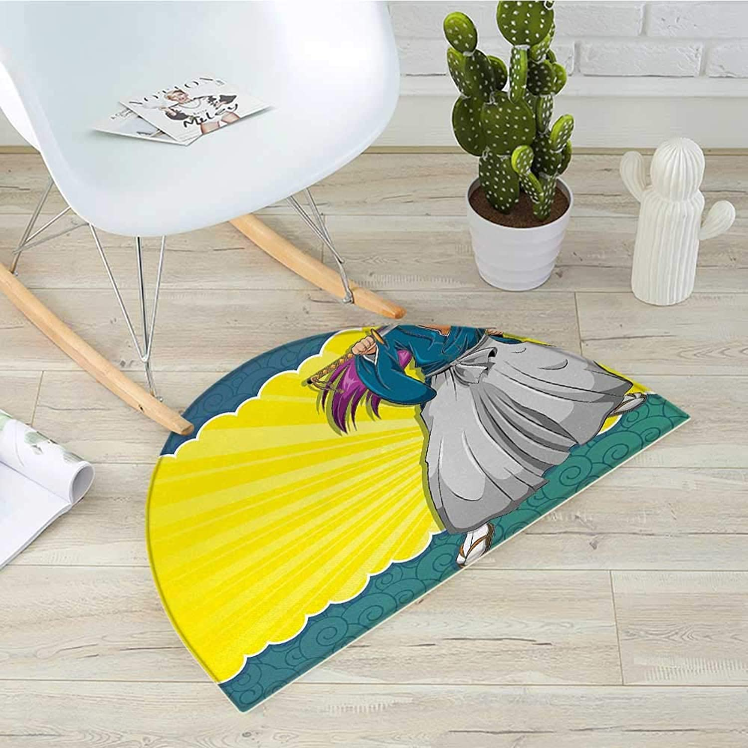 Anime Semicircle Doormat Manga Style Girl Samurai Warrior Character on Abstract Background in Yellow and bluee Halfmoon doormats H 31.5  xD 47.2  Multicolor