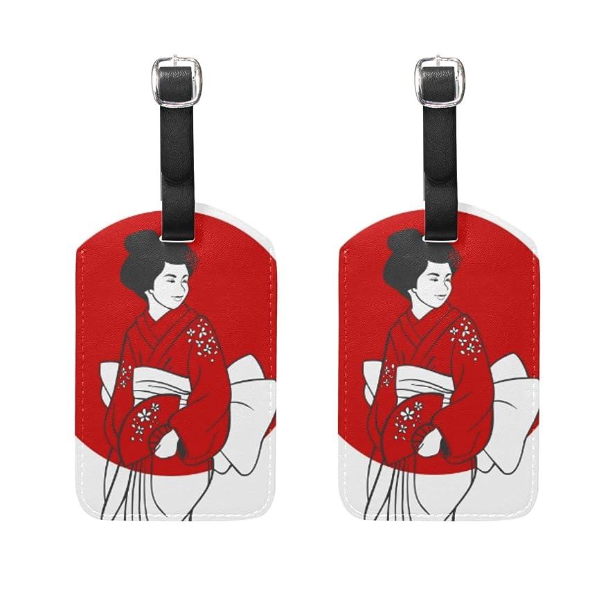 歩く平らにする貢献するバッグ用ネームタグ ネームタグ 芸者 和風 荷物タグ ラゲージタグ かわいい おしゃれ 旅行用 スーツケースタグ PUレザー 2枚入 個性