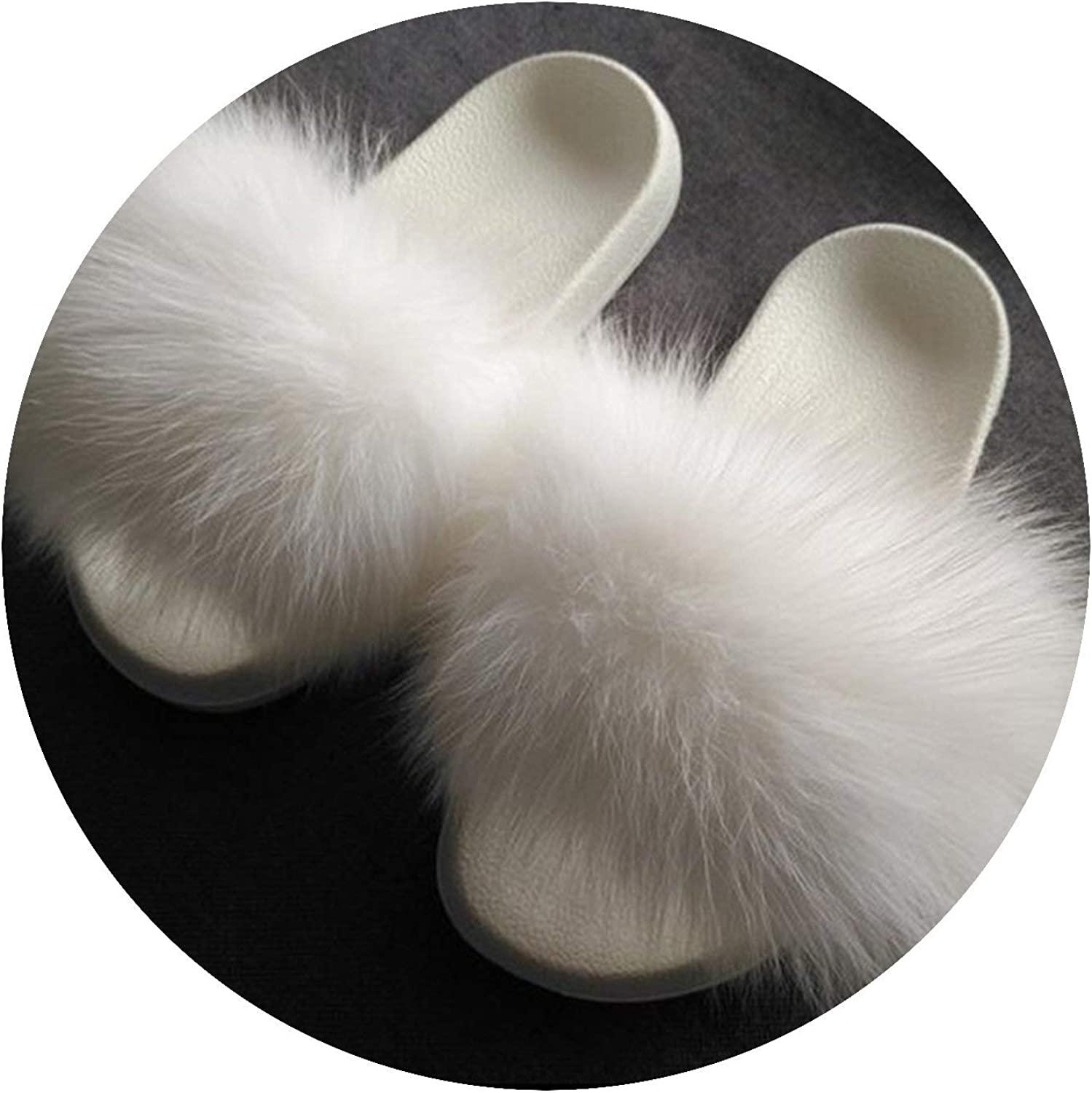 Huntty High end Fur Slippers Fox Fur Slides Flat Plush shoes Room Slipper Cute Pantufa,7.5M,White