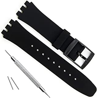 Ultra-Thin Replacement Waterproof Silicone Rubber Watch Strap Watch Band for Swatch Skin Series (16mm, Black)