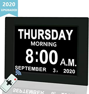 """Digital Calendar Alarm Day Clock, 8"""" Large Screen Display, with 5 Alarm Options, AM/PM Function, for Impaired Vision People, Age Seniors, The Dementia, for Desk, Wall Mounted, with Remote Control"""