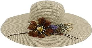 Flower Lady Beach Hat Big Along The Sunshade Holiday Sun Hat Fashion Elegant Straw Hat` TuanTuan (Color : Khaki, Size : 56-58CM)