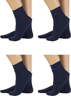 PACK 4 Pares de CalcetinesSin Puño elástico, Calcetines de algodón | Negro, Azul Marino | 100 DEN | Made in Italy