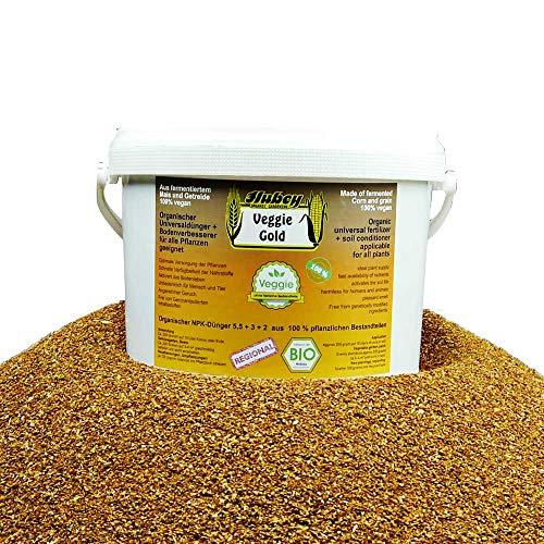 Hubey Veggie Gold - 1,5 kg Eimer - organischer NPK-Dünger fermentiert - mit EM Effektiven Mikroorganismen zum Humusaufbau - Bokashi Ferment - Langzeitdünger - Bodenaktivator