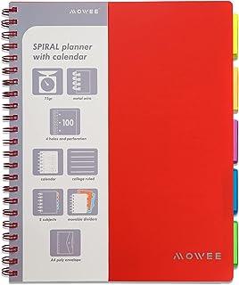 MOWEE Spiral Notebook - 5 Subject Notebook، College Ruled Notebook 3 -سوراخ سوراخ دار با جداکننده ها ، جیب های ذخیره سازی ، خط کش 11 اینچی ، 200 صفحه ، برای نوشتن مجله ، صفحه اصلی