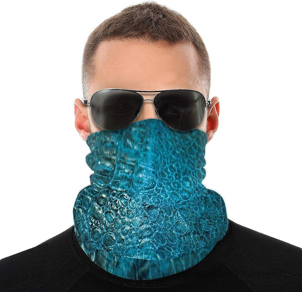 Kiuloam Bandanas Face Mask, Fish Skin Print Neck Gaiter Mask Headband for Men Women Face Scarf Dust, Outdoors, Sports