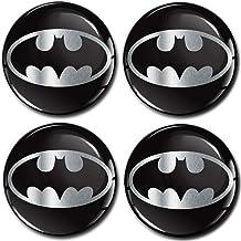 SkinoEu® 4 x 60mm Autocollant 3D Silicone Universel pour Cache-Moyeu, Enjoliveurs, Centre de Roue Caches Emblème Batman A ...
