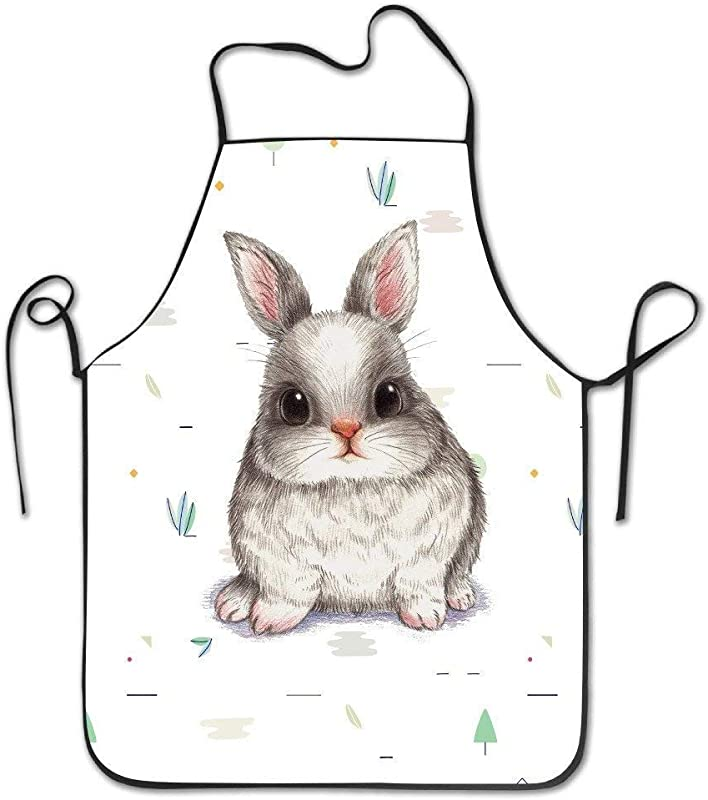 AshasdS AfagaS Cute Easter Rabbit Bunny Design Chef Apron For Women Men Barber Cooking Crafting