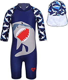 inhzoy Kids Boys 3PCS Rash Guard Swimsuit Thermal Swimwear Long Sleeve Tops with Bottoms Swimming Cap Set