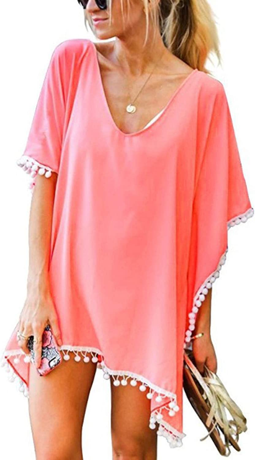 Summer Bathing Suit Cover Up for Women, Kcocoo Sexy V Neck Swimsuit Cover Ups Beach Bikini Tunic Tops Swimsuit Wraps