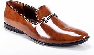 ZAPATOZ Men's Faux Leatherite Tan Snoes/Leather Shoes for Men/Formal Shoes for Mens/Official Shoes Men/Slip on Men Formal/Men's Leather Shoes Without Laces