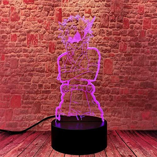 Lámpara de noche 3D My Hero Academia Bakugou Katsuki regalos, con 16 cambios de color y mando a distancia, regalos para niños a partir de 3 4 5 6 años