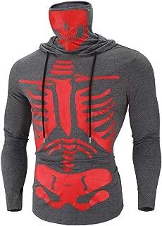 Mens Mask Skull Print Sweatshirt Fashion Pullover Long Sleeve Hooded Tops Blouse for Halloween Beautyfine