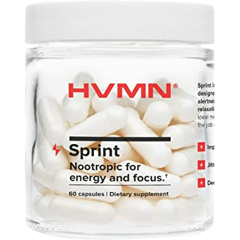 H.V.M.N. Sprint - Nootropic, Energy Pill & Focus Supplement - Caffeine, L-Theanine, Panax Ginseng Supplement