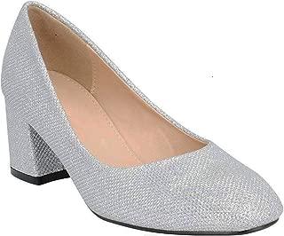 Women's Slip-On Pump Round Toe Chunky Block Mid Heel Work Shoes