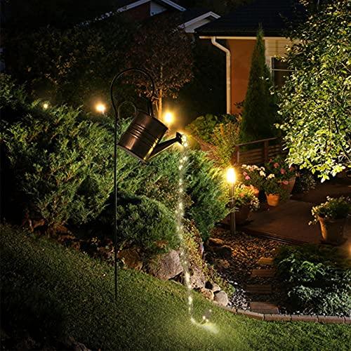 Yesheng Cadena de luces LED, lámpara de regadera con estrellas, luces de jardín de hadas estrelladas, luces decorativas románticas para patio, jardín, camino