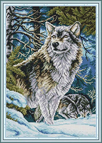 Cross Stitch Counted Kits Stamped Kit Cross-Stitching Pattern for Home Decor, 11CT Pre-Printed Fabric Embroidery Crafts Needlepoint Kit (Printed Kits,Leader Wolf)